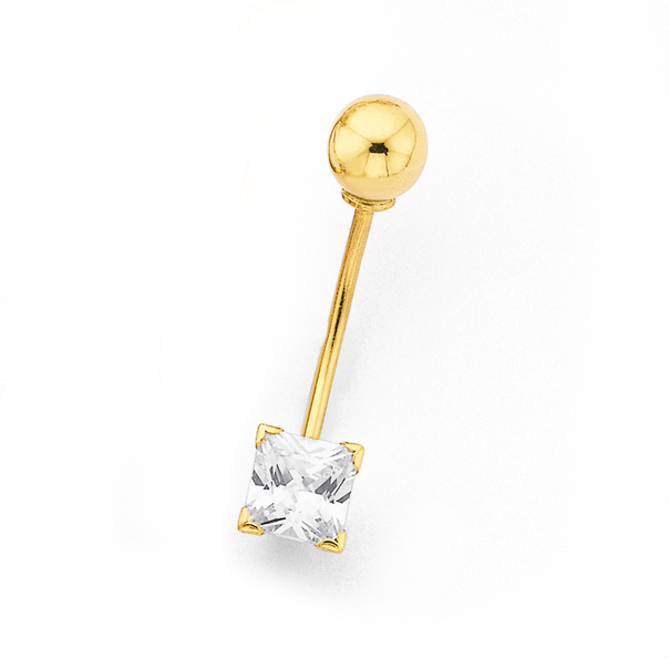 9ct Gold Square CZ Belly Bar