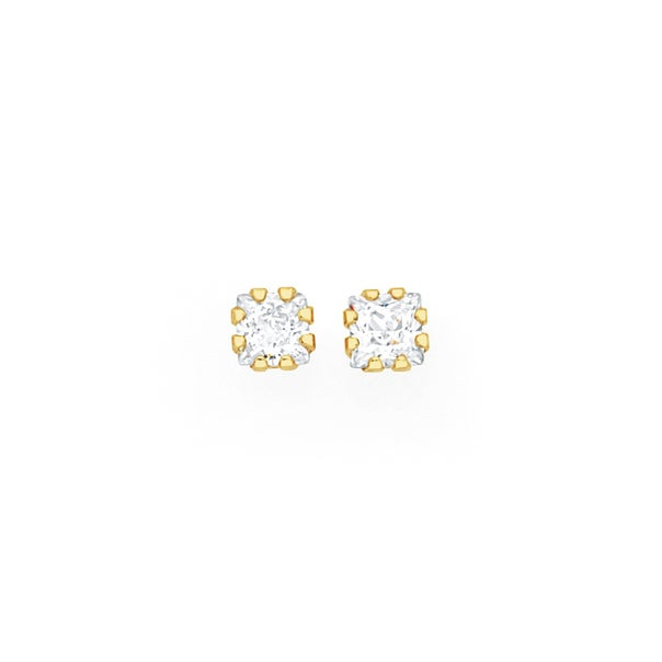 9ct Gold Square CZ Stud Earrings