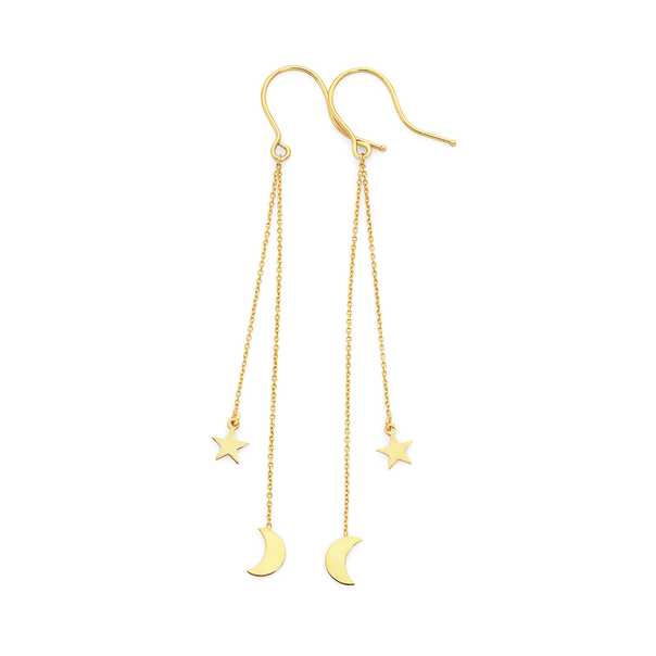 9ct Gold Star & Moon Drop Earrings