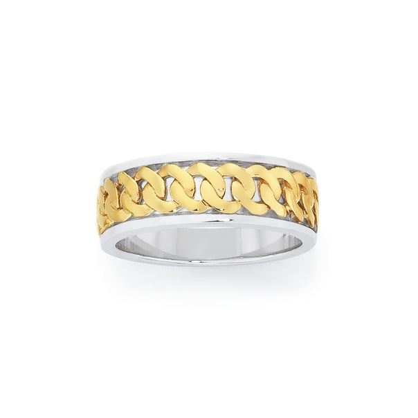 9ct Gold & Sterling Silver Curb Links Pattern Ring