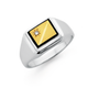 9ct Gold & Sterling Silver Diamond & Onyx Gents Ring
