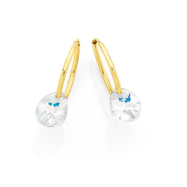 9ct Gold Swarovski Crystal Pear Shape on Hoop Earrings