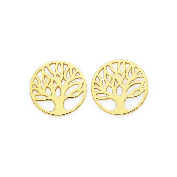 9ct Gold Tree of Life Disc Stud Earrings