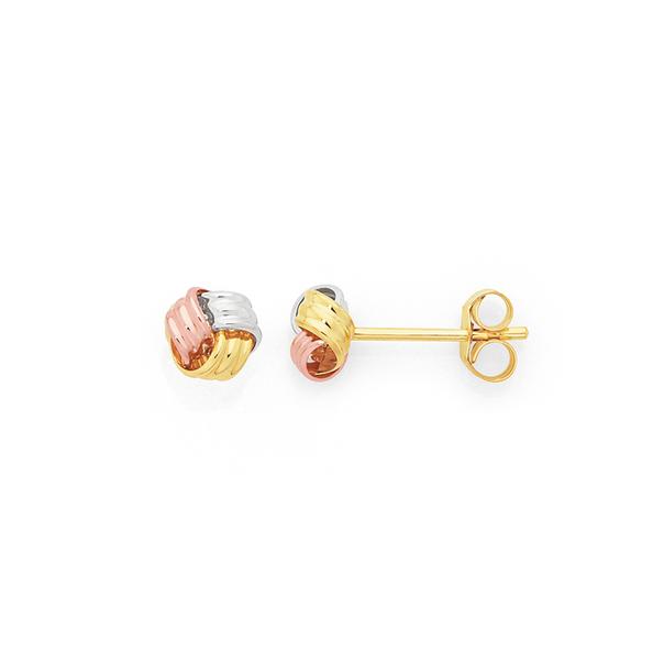 9ct Gold Tri Tone 5mm Knot Stud Earrings