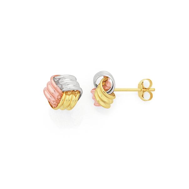 9ct Gold Tri Tone 7mm Knot Stud Earrings