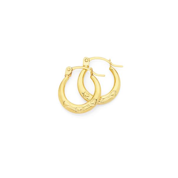9ct Gold Triple Hearts Mini Creole Earrings