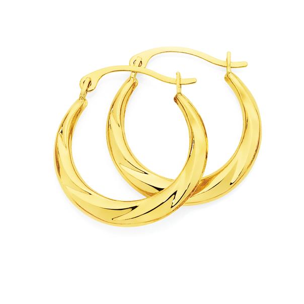 9ct Gold Twist Creole Earrings