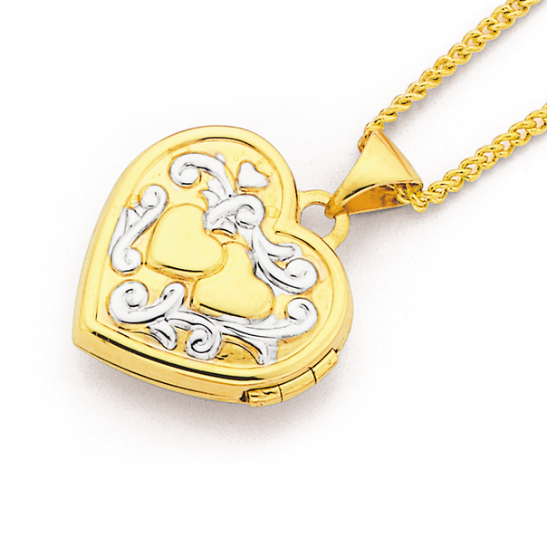 9ct Gold Two Tone 15mm Heart Locket