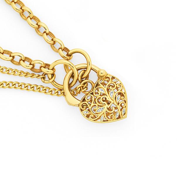 9ct Gold Two Tone 19cm Belcher Diamond Padlock Bracelet
