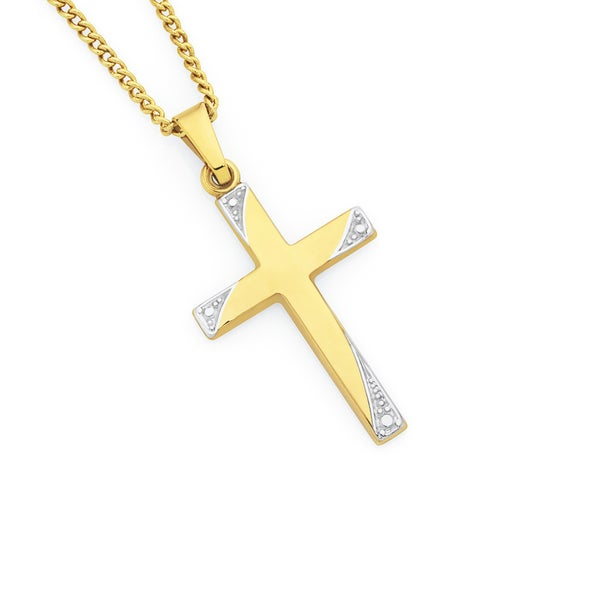 9ct Gold Two Tone 21mm Cross Pendant
