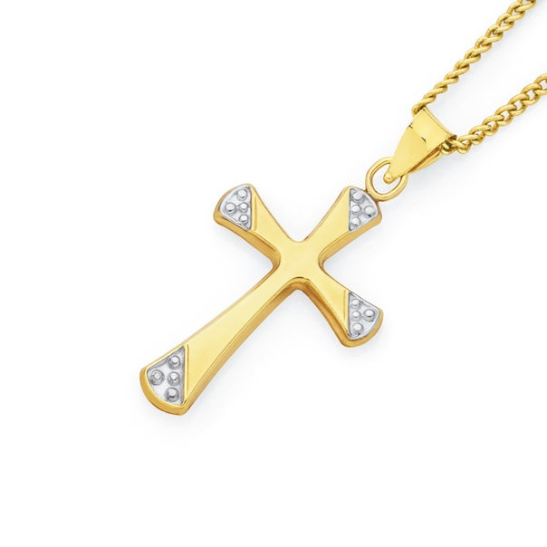 9ct Gold Two Tone 21mm Fluted Cross Pendant