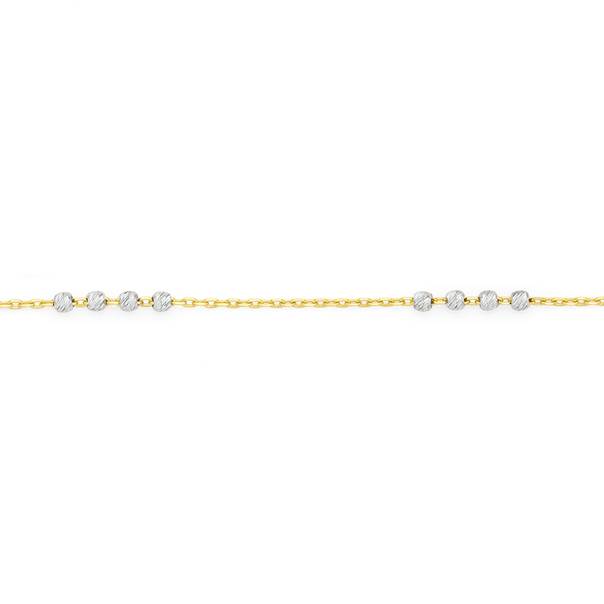 9ct Gold Two Tone 27cm Beaded Anklet