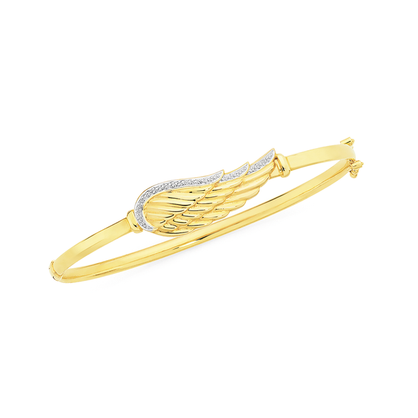 9ct Gold Two Tone 60mm Hollow Angel Wing Oval Hinged Bangle