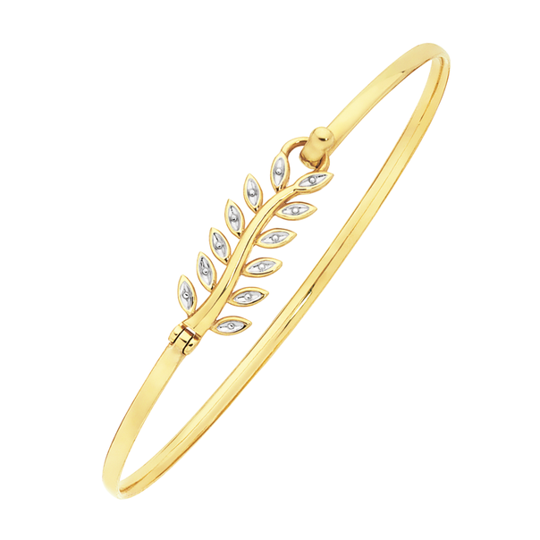 9ct Gold Two Tone 60mm Hollow Leaf Oval Bangle