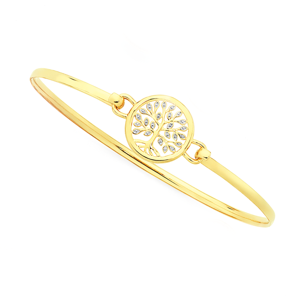 9ct Gold Two Tone 60mm Hollow Tree Of Life Oval Bangle