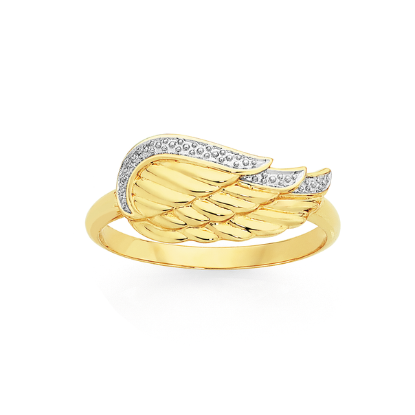 9ct Gold Two Tone Angel Wing Ring