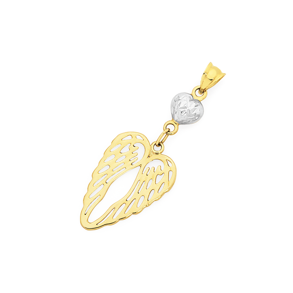 9ct Gold Two Tone Angel Wings Pendant