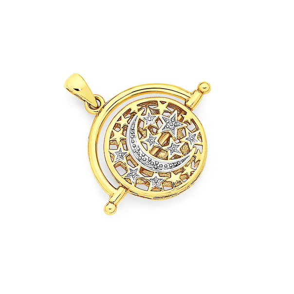 9ct Gold Two Tone Crescent Moon & Stars Spinner Disc Pendant