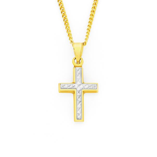 9ct Gold Two Tone Cross Pendant