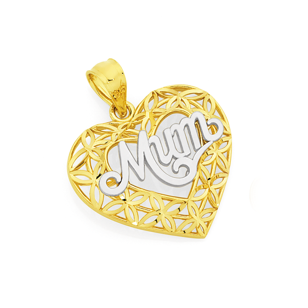 9ct Gold Two Tone Diamond-cut Mum Flower Heart Pendant