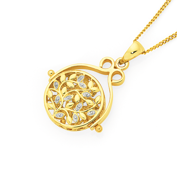 9ct Gold Two Tone Filigree Spinner Disc Pendant