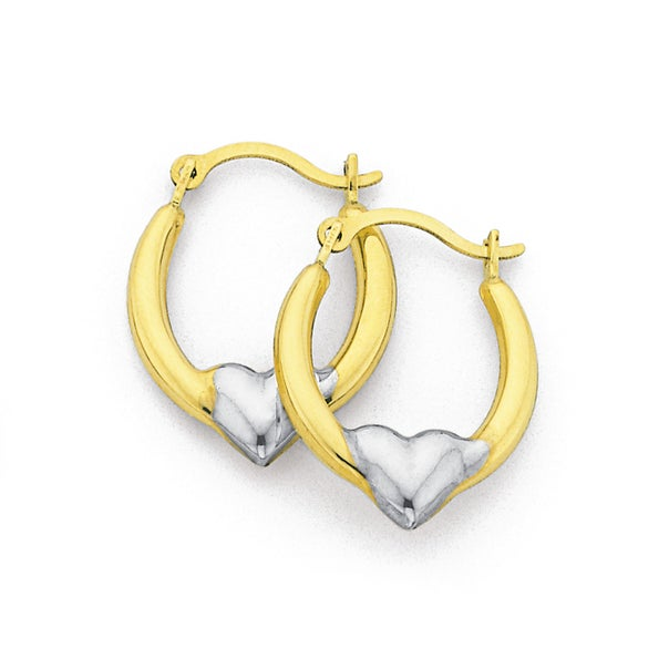 9ct Gold Two Tone Hearts Creole Earrings