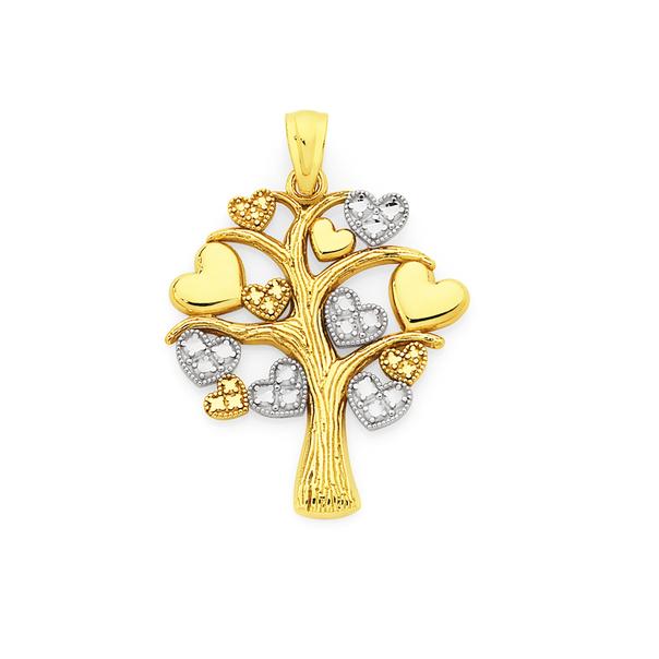 9ct Gold Two Tone Multi Hearts Tree of Life Pendant