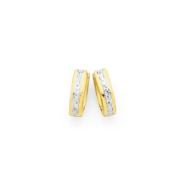 9ct Gold Two Tone Oval Huggie Earrings