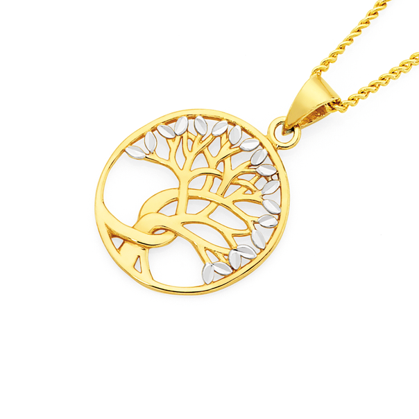 9ct Gold Two Tone Oval Tree of Life Pendant