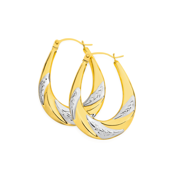 9ct Gold Two Tone Striped Oval Creole Earrings