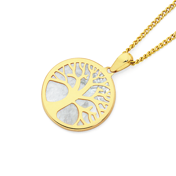 9ct Gold White MOP Tree of Life Pendant