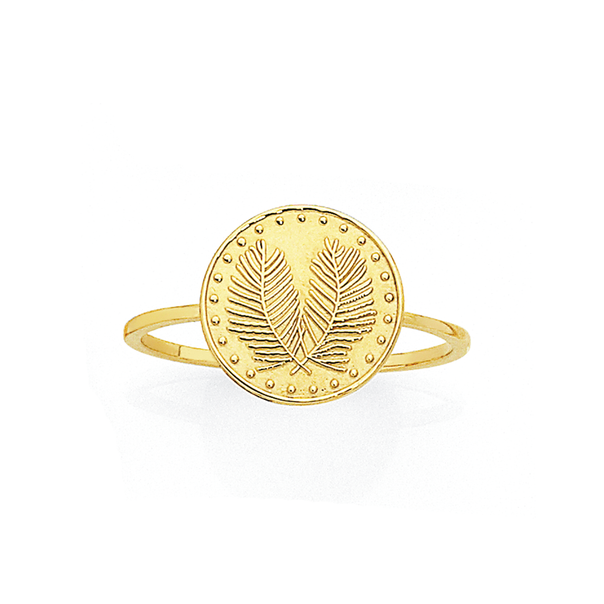 9ct Palm Leaf Coin Dress Ring
