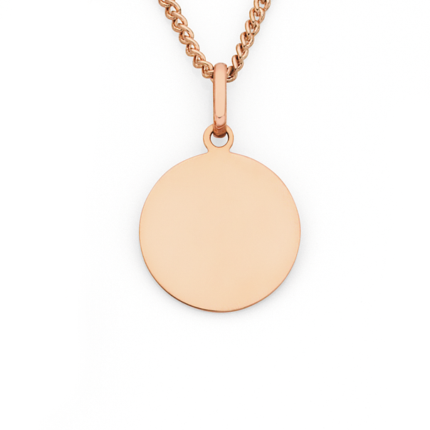 9ct Rose Gold 12mm Round Disc Charm
