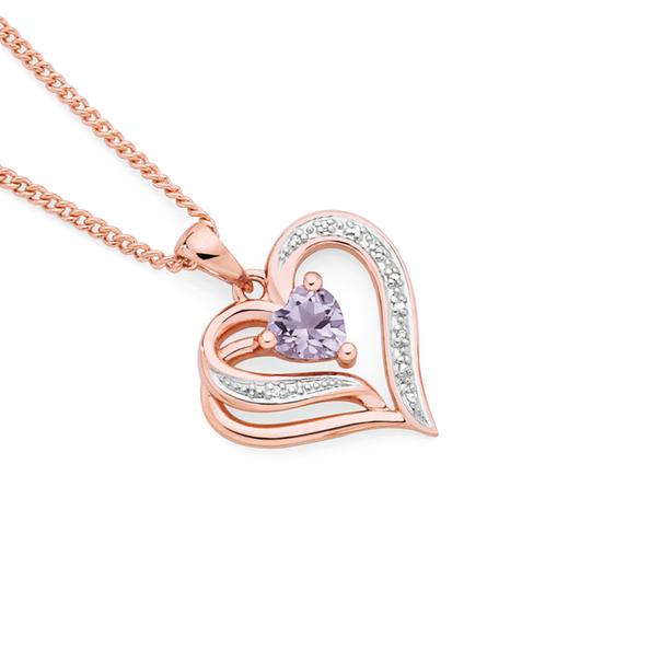 9ct Rose Gold Amethyst & Diamond Open Heart Swirl Pendant