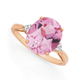 9ct Rose Gold Created Rose Sapphire Oval Cut Dress Ring with Diamonds