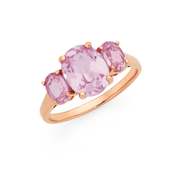 9ct Rose Gold Created Rose Sapphire Trilogy Ring