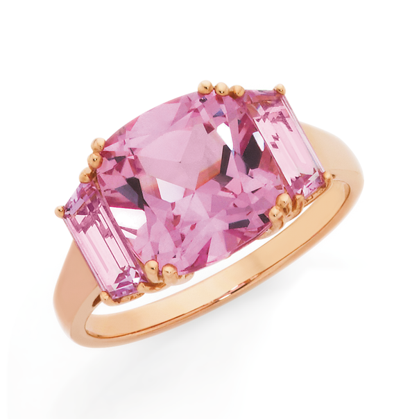 9ct Rose Gold Created Sapphire Trilogy Ring