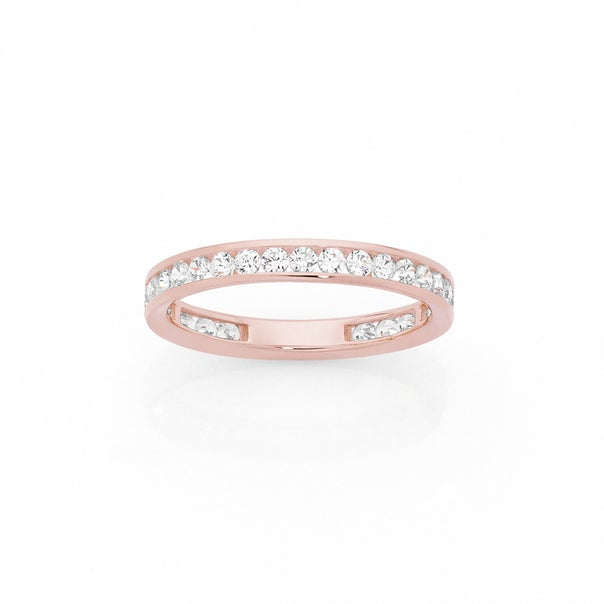 9ct Rose Gold Cubic Zirconia Band