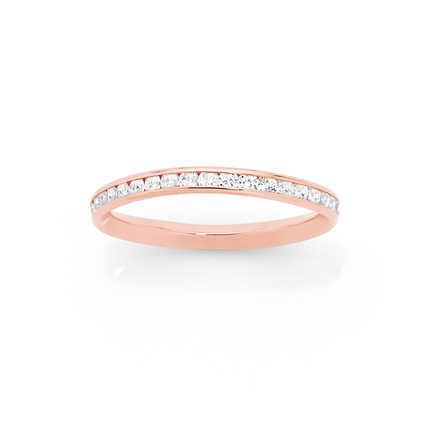 9ct Rose Gold Cubic Zirconia Full Eternity Stacker Ring