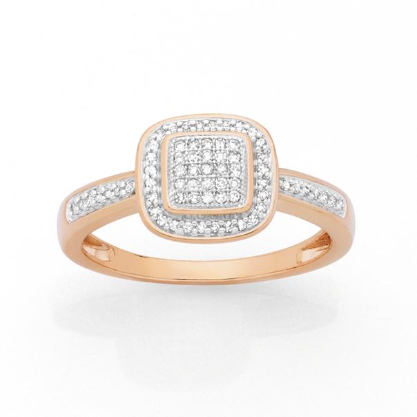 9ct Rose Gold Diamond Cushion Frame Ring