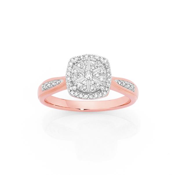 9ct Rose Gold Diamond Cushion Shape Ring