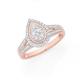 9ct Rose Gold Diamond Pear Shape Ring