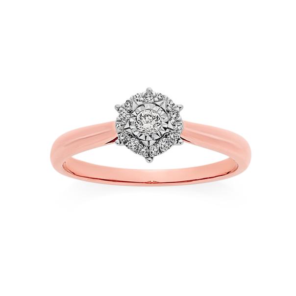 9ct Rose Gold Diamond Ring