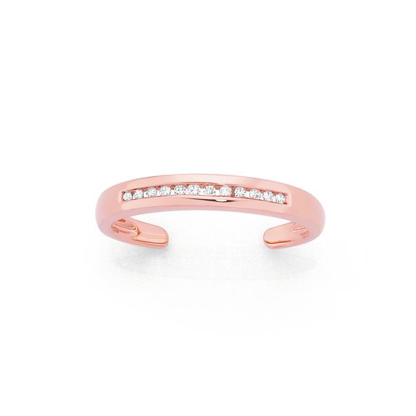 9ct Rose Gold Diamond Toe Ring