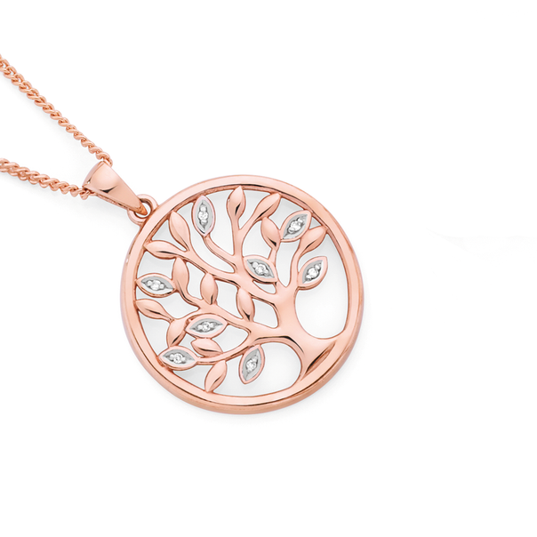 9ct Rose Gold Diamond Tree of Life in a Circle Pendant