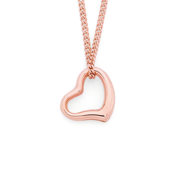 9ct Rose Gold Floating Heart Pendant