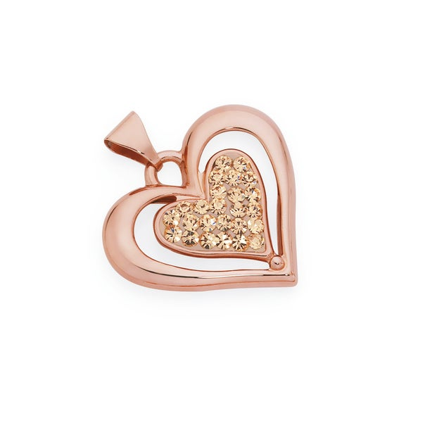 9ct Rose Gold on Silver Champagne Crystal Double Heart Pendant
