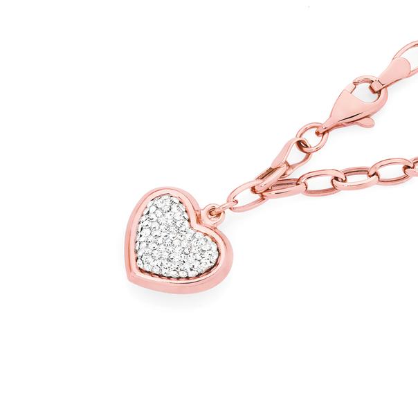 9ct Rose Gold on Silver Crystal Heart Charm on Belcher Bracelet