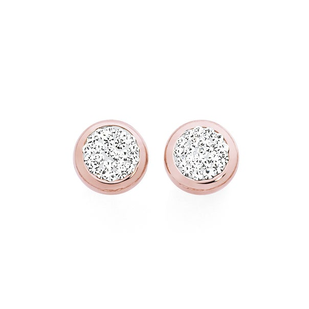 9ct Rose Gold on Silver Crystal Round Stud Earrings