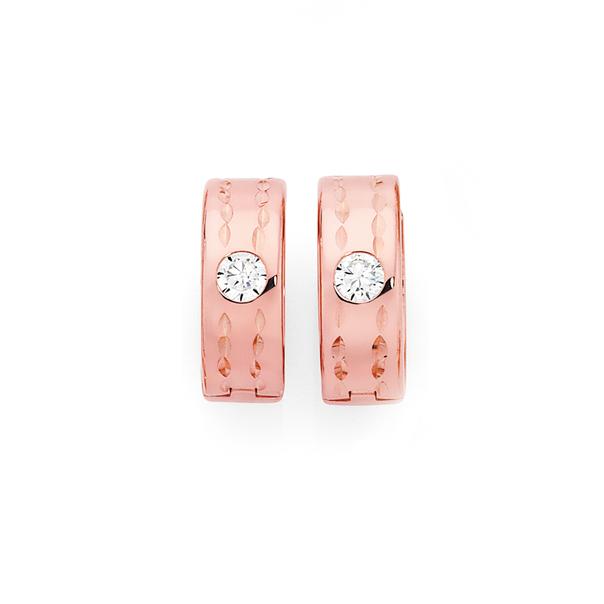 9ct Rose Gold on Silver Cubic Zirconia Huggie Earrings